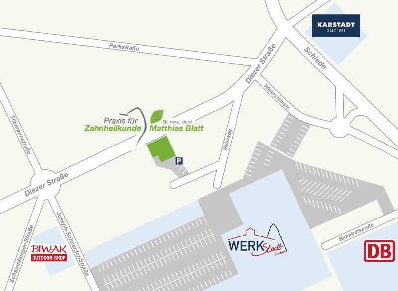 Die Anfahrskizze zu unserer zentral gelegenen Zahnarztpraxis in Limburg
